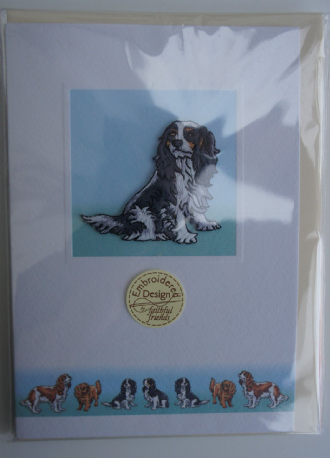 King Charles Cavalier Embroidered card